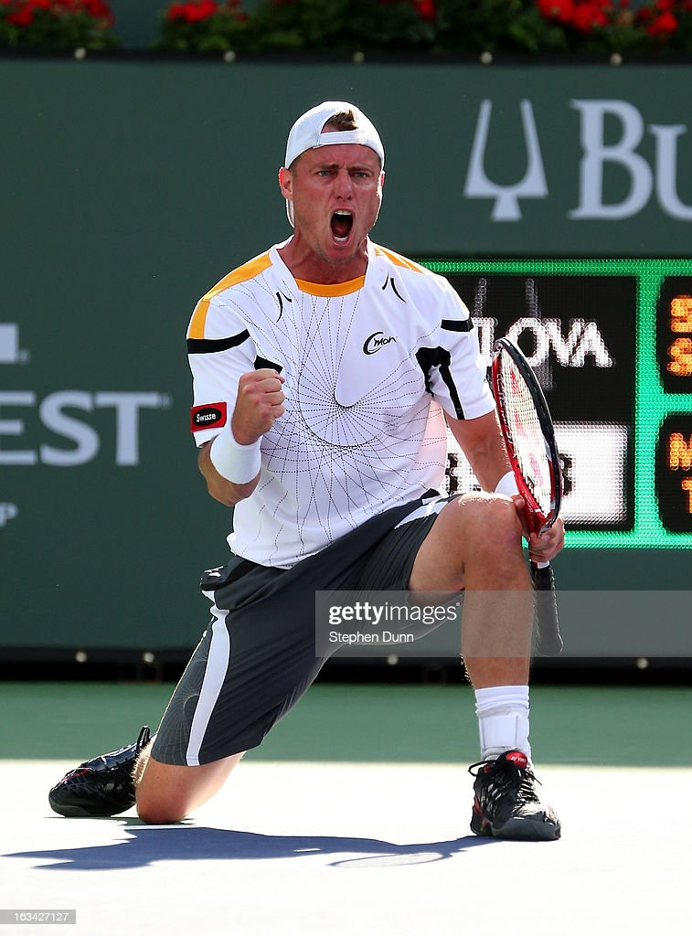 Lleyton Hewitt of Australia celebrates after winning match point against John Isner during day 4 of the BNP Paribas Open at Indian Wells Tennis Garden on March 9, 2013 in Indian Wells, California.