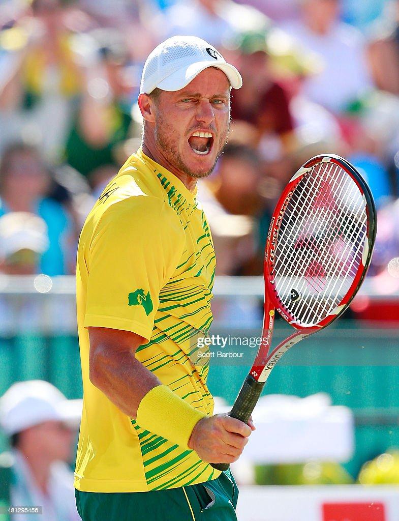 Lleyton Hewitt of Australia celebrates during the reverse singles match between Lleyton Hewitt of Australia and Aleksandr Nedovyesov of Kazakhstan...