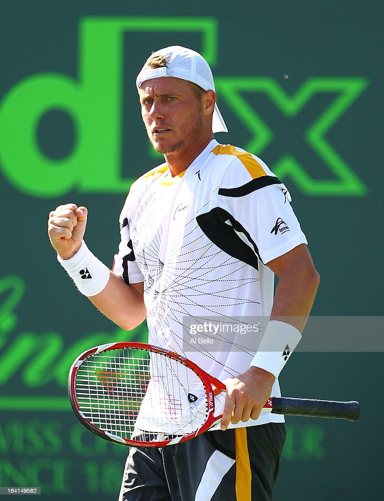 Lleyton Hewitt of Australia celebrates match point against Joao Sousa of Portugal during Day 3 of the Sony Open at at the Crandon Park Tennis Center on March 20, 2013 in Key Biscayne, Florida.