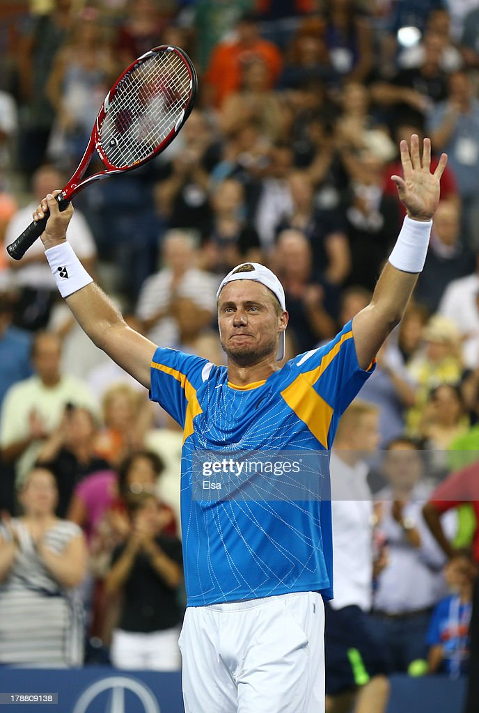 Lleyton Hewitt of Australia celebrates match point against Juan Martin Del Potro of Argentina during their round match on Day Five of the 2013 US Open at USTA Billie Jean King National Tennis Center on August 30, 2013 in the Flushing neighborhood of the Queens borough of New York City.