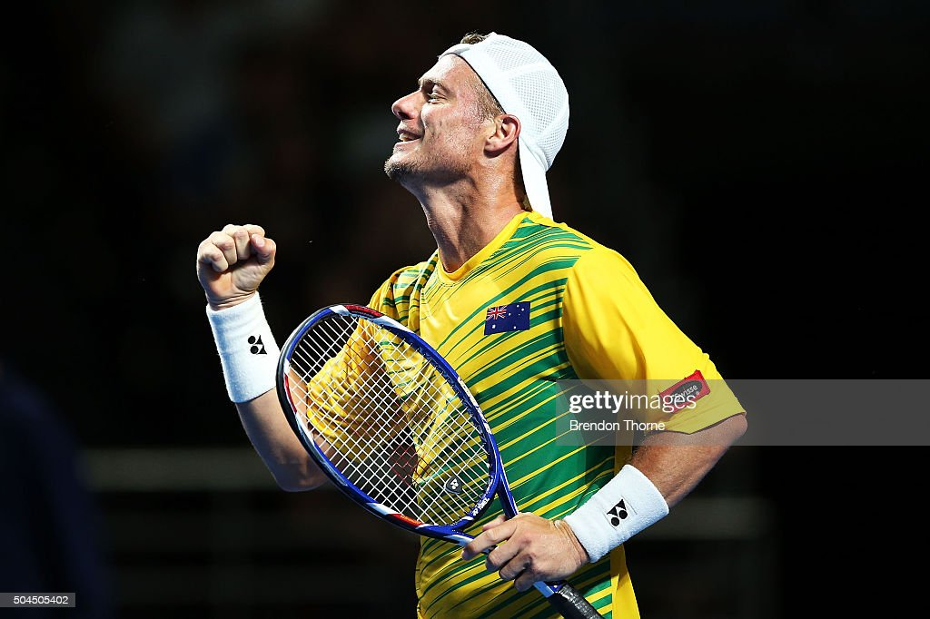 <a gi-track='captionPersonalityLinkClicked' href=/galleries/search?phrase=Lleyton+Hewitt&family=editorial&specificpeople=167178 ng-click='$event.stopPropagation()'>Lleyton Hewitt</a> of Australia celebrates match point during the FAST4 Tennis exhibition match between Rafael Nadal and <a gi-track='captionPersonalityLinkClicked' href=/galleries/search?phrase=Lleyton+Hewitt&family=editorial&specificpeople=167178 ng-click='$event.stopPropagation()'>Lleyton Hewitt</a> at Allphones Arena on January 11, 2016 in Sydney, Australia.