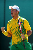 Lleyton Hewitt of Australia celebrates winning a point in his singles match against Farrukh Dustov of Uzbekistan during the Davis Cup World Group...
