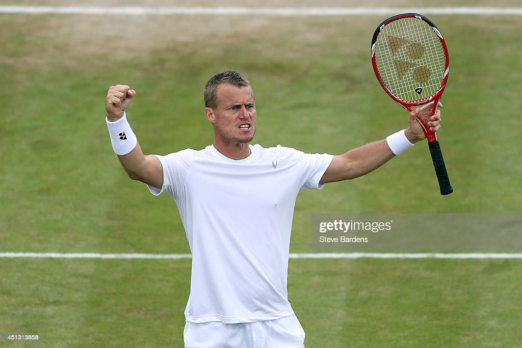 <a gi-track='captionPersonalityLinkClicked' href=/galleries/search?phrase=Lleyton+Hewitt&family=editorial&specificpeople=167178 ng-click='$event.stopPropagation()'>Lleyton Hewitt</a> of Australia celebrates winning a set during his Gentlemen's Singles second round match against Jerzy Janowicz of Poland on day five of the Wimbledon Lawn Tennis Championships at the All England Lawn Tennis and Croquet Club on June 27, 2014 in London, England.