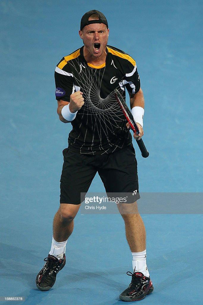 Lleyton Hewitt of Australia celebrates winning his match against Igor Kunitsyn of Russia on day three of the Brisbane International at Pat Rafter Arena on January 1, 2013 in Brisbane, Australia.