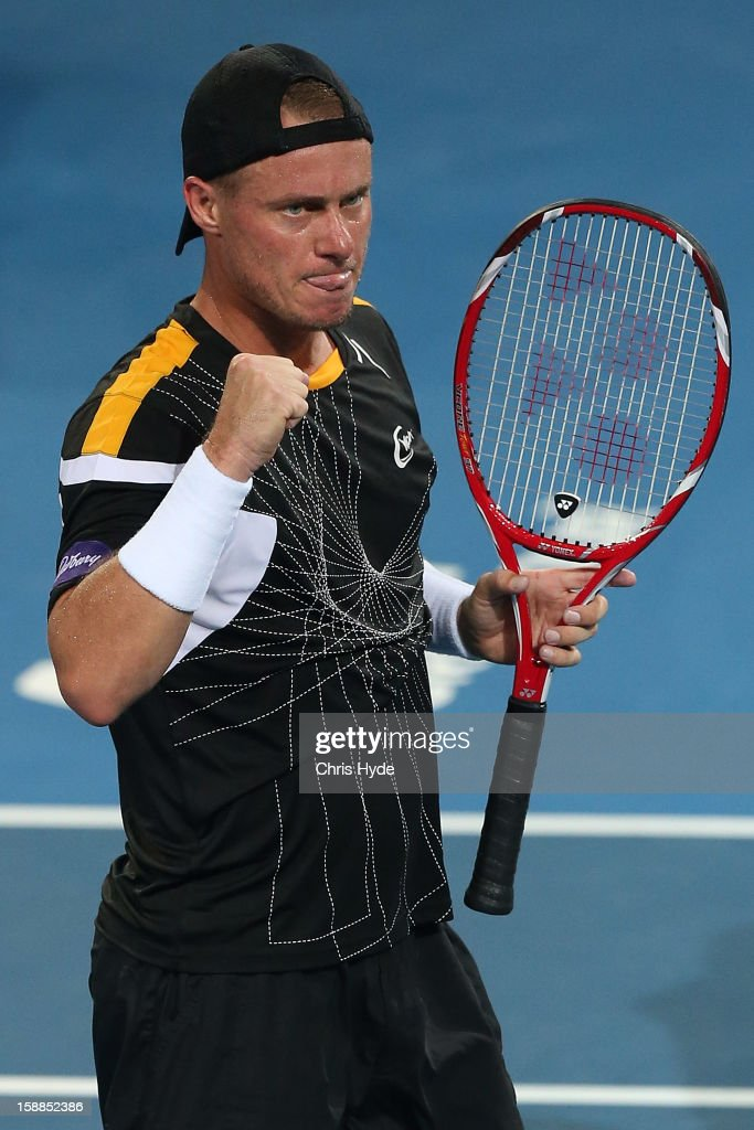 Lleyton Hewitt of Australia celebrates winning his match against Igor Kunitsyn of Russia on day three of the Brisbane International at Pat Rafter Arena on January 1, 2013 in Brisbane, Australia.