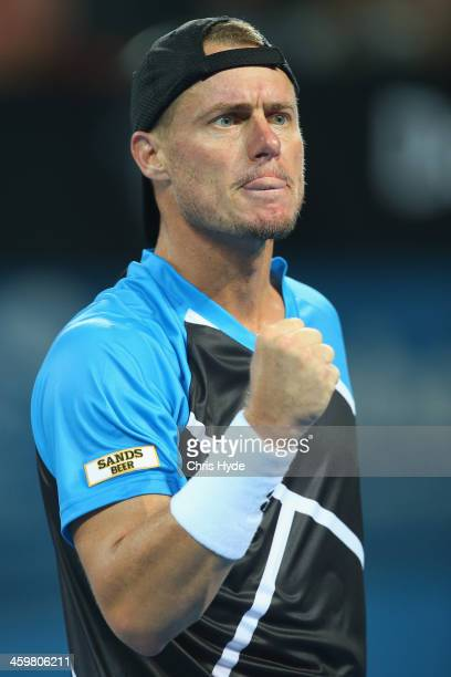 Lleyton Hewitt of Australia celebrates winning his match against Thanasi Kokkinakis of Australia during day three of the 2014 Brisbane International...