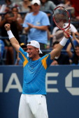 Lleyton Hewitt of Australia celebrates winning his men's singles third round match against Evgeny Donskoy of Russia on Day Seven of the 2013 US Open...