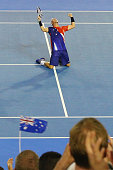 Lleyton Hewitt of Australia celebrates winning in his first round match against James Duckworth during day two of the 2016 Australian Open at...