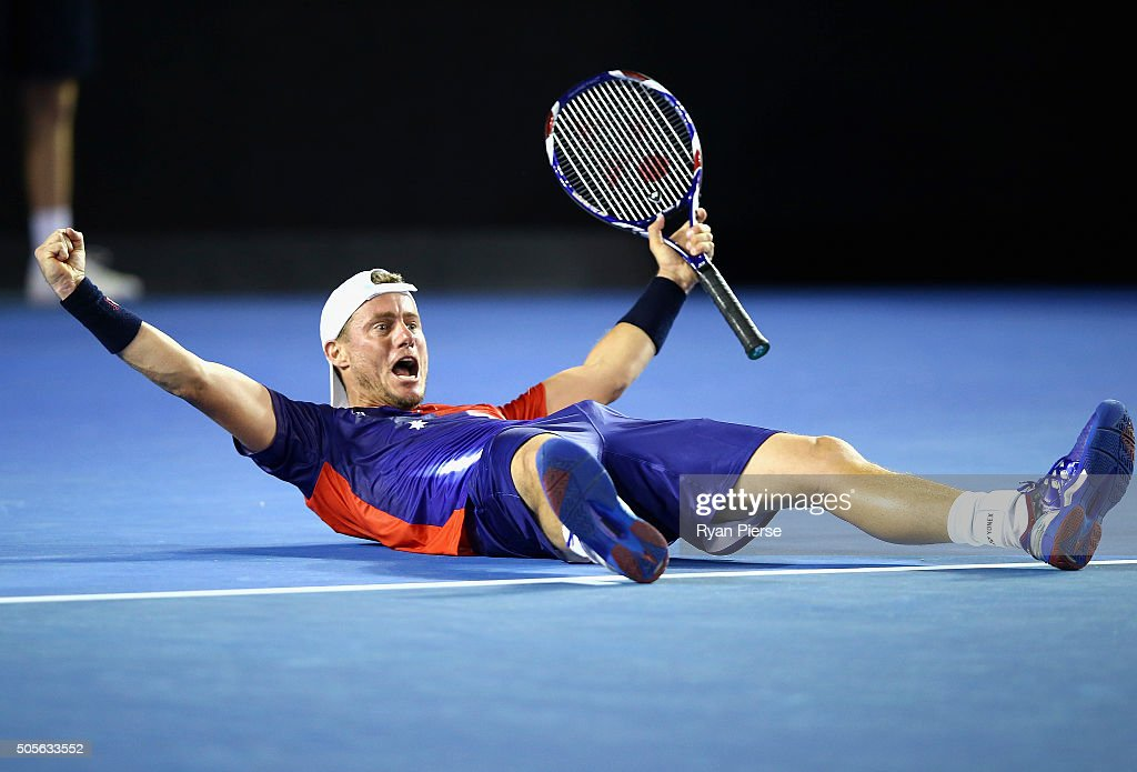 Lleyton Hewitt of Australia celebrates winning match point during his first round match against James Duckworth of Australia during day two of the...