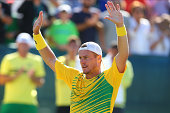 Lleyton Hewitt of Australia celebrates winning the rubber in his singles match against Farrukh Dustov of Uzbekistan during the Davis Cup World Group...