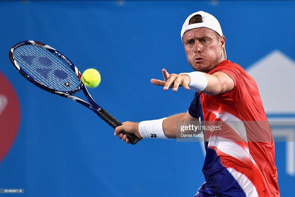 Lleyton Hewitt of Australia competes during the 2016 World Tennis Challenge match between Lleyton Hewitt of Australia and Fernando Verdasco of Spain...