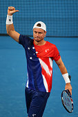 Lleyton Hewitt of Australia Gold celebrates defeating Jack Sock of the United States in his singles match during day three of the 2016 Hopman Cup at...