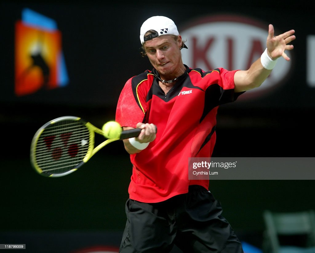 Lleyton Hewitt of Australia in action defeating Frank Dancevic of Canada 64 64 36 64 in the second round of the Australian Open Melbourne Australia
