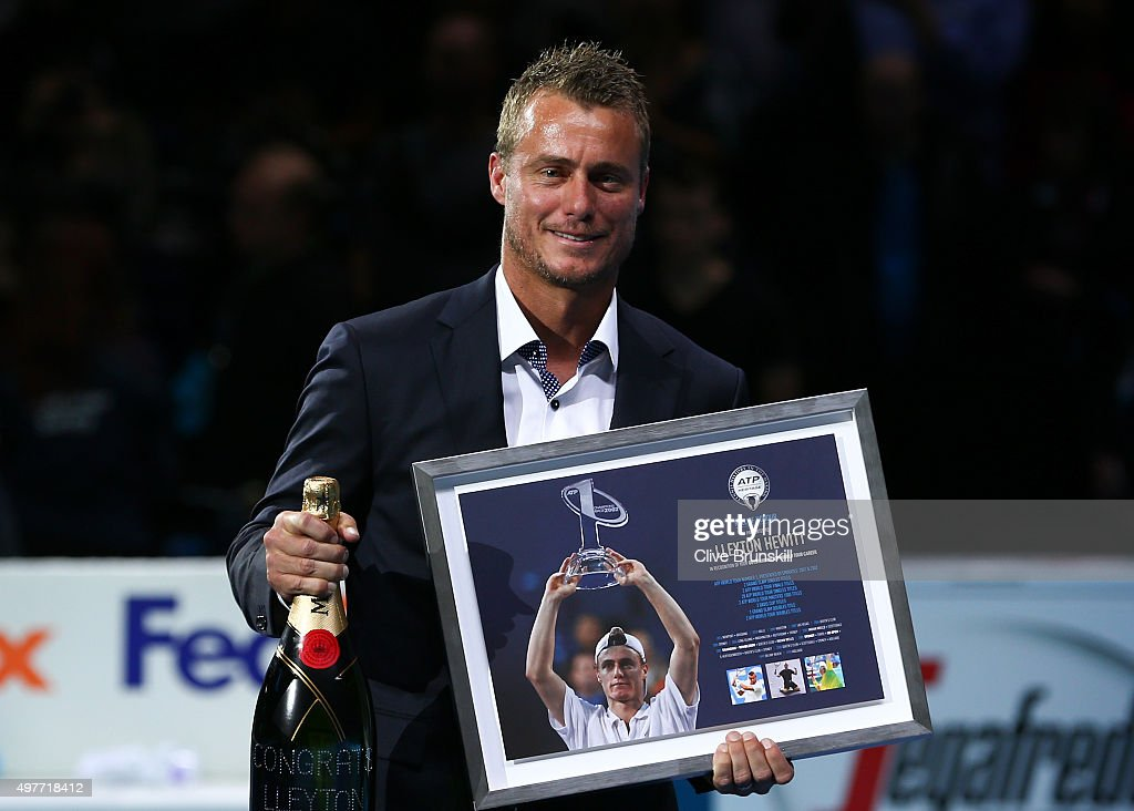 <a gi-track='captionPersonalityLinkClicked' href=/galleries/search?phrase=Lleyton+Hewitt&family=editorial&specificpeople=167178 ng-click='$event.stopPropagation()'>Lleyton Hewitt</a> of Australia is presented with the ATP Roll of Honour during day four of the Barclays ATP World Tour Finals at the O2 Arena on November 18, 2015 in London, England.