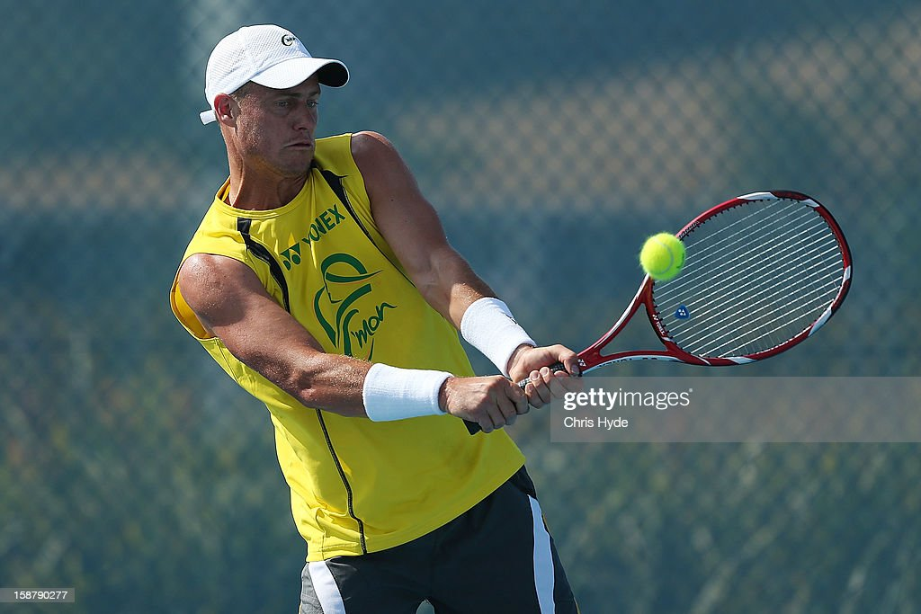 <a gi-track='captionPersonalityLinkClicked' href=/galleries/search?phrase=Lleyton+Hewitt&family=editorial&specificpeople=167178 ng-click='$event.stopPropagation()'>Lleyton Hewitt</a> of Australia plays a backhand during a practice session at Pat Rafter Arena on December 29, 2012 in Brisbane, Australia.