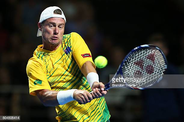 Lleyton Hewitt of Australia plays a backhand during the FAST4 Tennis exhibition match between Rafael Nadal and Lleyton Hewitt at Allphones Arena on...