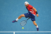 Lleyton Hewitt of Australia plays a shot between his legs in his second round match against David Ferrer of Spain during day four of the 2016...