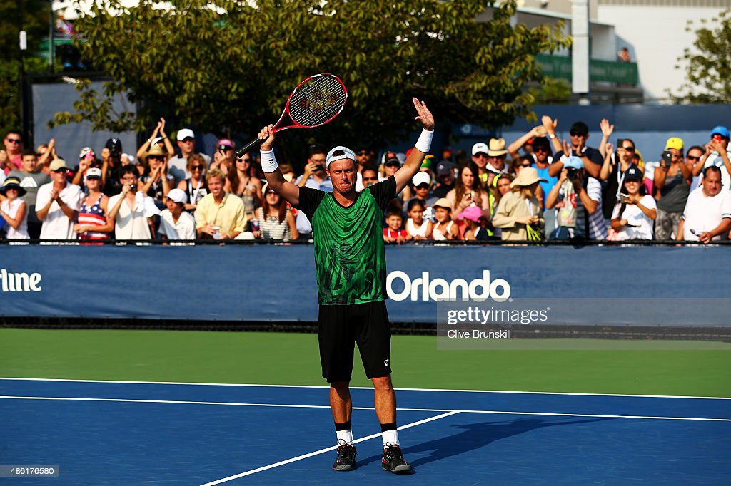 Lleyton Hewitt of Australia reacts after defeating Aleksandr Nedovyesov of Kazakhstan on Day Two of the 2015 US Open at the USTA Billie Jean King...