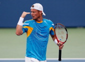 Lleyton Hewitt of Australia reacts after winning a point against John Isner during the BBT Atlanta Open in Atlantic Station on July 27 2013 in...