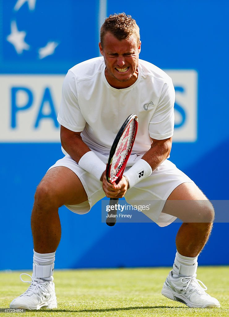 Lleyton Hewitt of Australia reacts in his men's singles first round match against Kevin Anderson of South Africa during day one of the Aegon Championships at Queen's Club on June 15, 2015 in London, England.