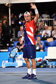 Lleyton Hewitt of Australia reacts to the crowd after the 2016 World Tennis Challenge match between Lleyton Hewitt of Australia and Fernando Verdasco...