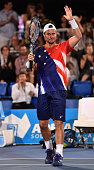 Lleyton Hewitt of Australia salutes the crowd after the 2016 World Tennis Challenge match between Lleyton Hewitt of Australia and Marin Cilic of...