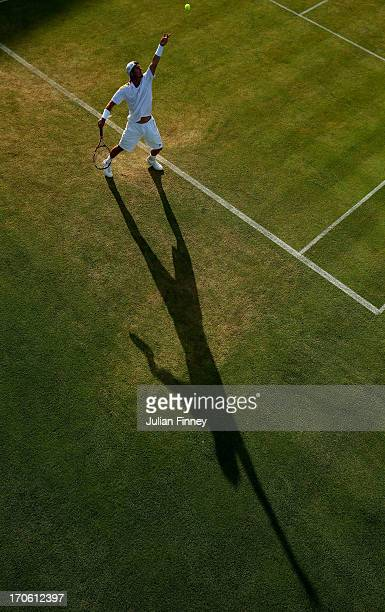 Lleyton Hewitt of Australia serves during the Men's Singles semi final match against Marin Cilic of Croatia on day six of the AEGON Championships at...