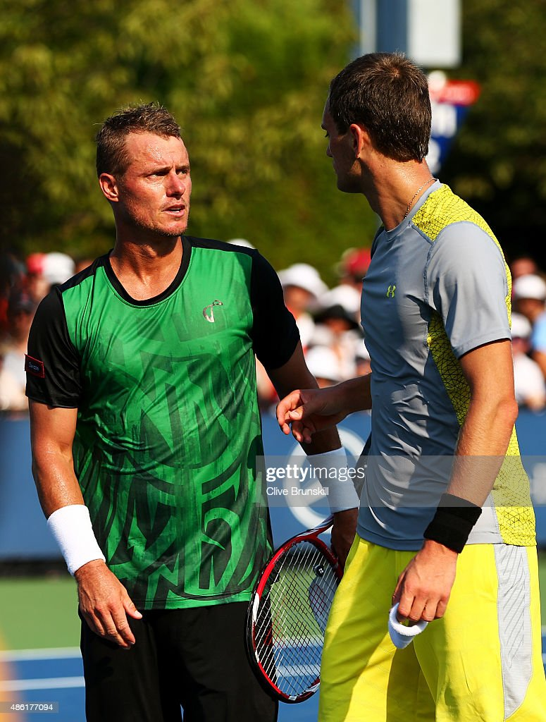 <a gi-track='captionPersonalityLinkClicked' href=/galleries/search?phrase=Lleyton+Hewitt&family=editorial&specificpeople=167178 ng-click='$event.stopPropagation()'>Lleyton Hewitt</a> of Australia shakes hands with <a gi-track='captionPersonalityLinkClicked' href=/galleries/search?phrase=Aleksandr+Nedovyesov&family=editorial&specificpeople=12336565 ng-click='$event.stopPropagation()'>Aleksandr Nedovyesov</a> of Kazakhstan after their Men's Singles First Round match match on Day Two of the 2015 US Open at the USTA Billie Jean King National Tennis Center on September 1, 2015 in the Flushing neighborhood of the Queens borough of New York City.