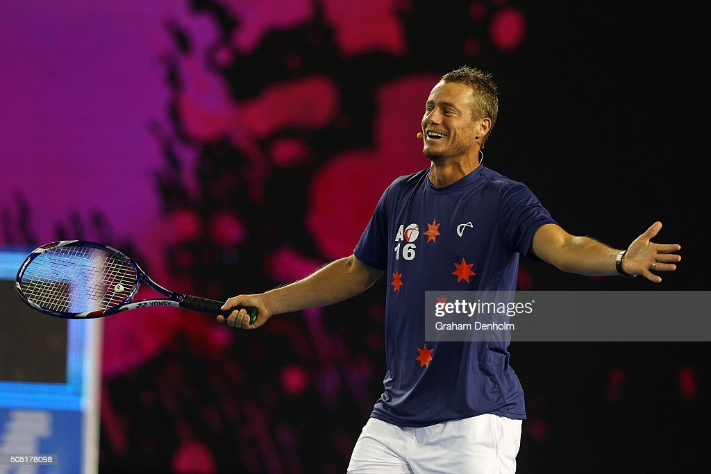 <a gi-track='captionPersonalityLinkClicked' href=/galleries/search?phrase=Lleyton+Hewitt&family=editorial&specificpeople=167178 ng-click='$event.stopPropagation()'>Lleyton Hewitt</a> of Australia smiles during the Rod Laver Arena Spectacular as part of Kids Tennis Day presented by Nickelodeon ahead of the 2016 Australian Open at Melbourne Park on January 16, 2016 in Melbourne, Australia.