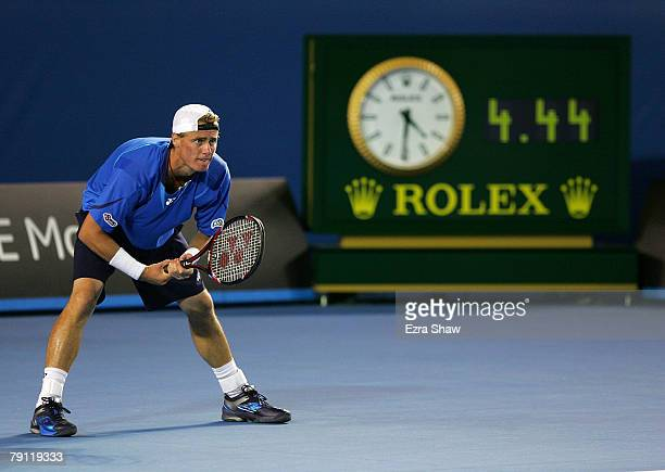 Lleyton Hewitt of Australia waits for the serve in the final point of his match against Marcos Baghdatis of Cyprus during the third round match on...
