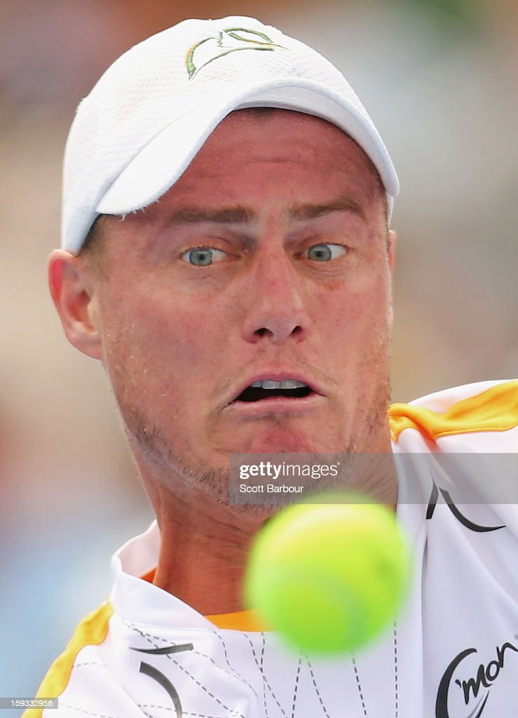 Lleyton Hewitt of Australia watches the ball during his match against Juan Martín del Potro of Argentina during day four of the AAMI Classic at Kooyong on January 12, 2013 in Melbourne, Australia.