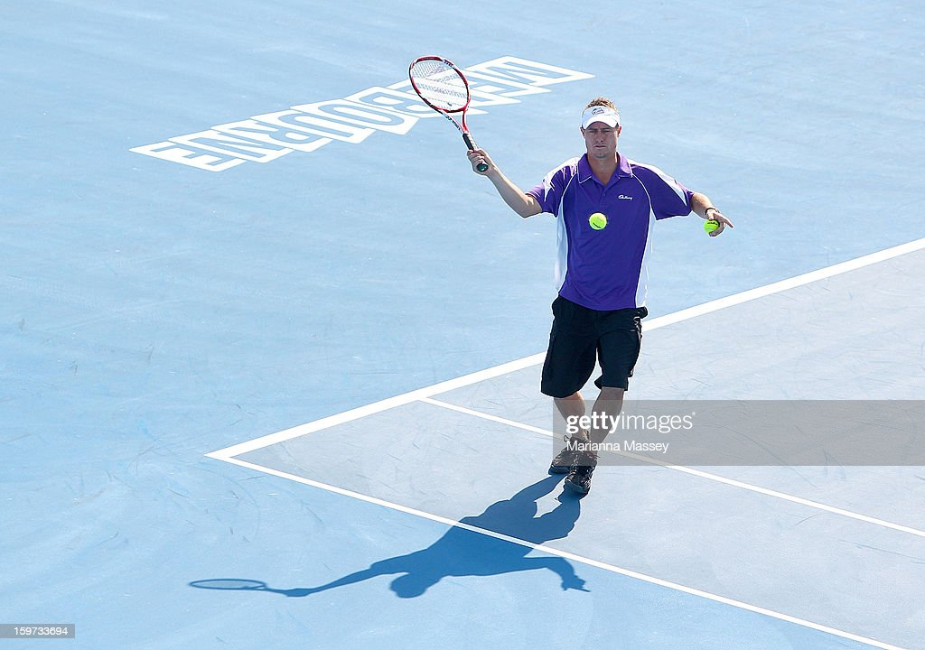 Lleyton Hewitt participates in the Cadbury Smash for Cash of the 2013 Australian Open at Melbourne Park on January 20, 2013 in Melbourne, Australia.