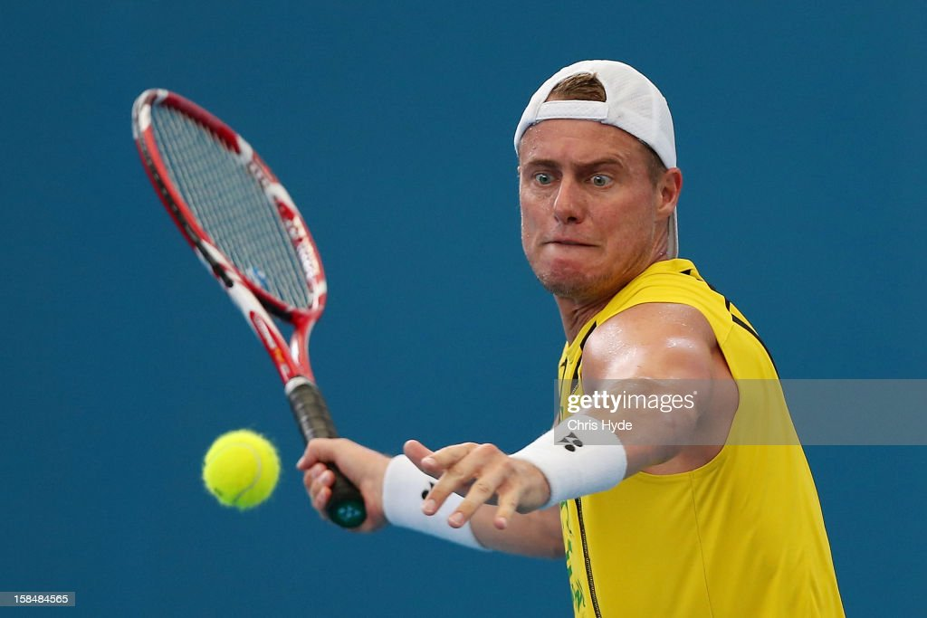 Lleyton Hewitt practices at Pat Rafter Arena on December 18, 2012, ahead of the 2013 Brisbane International in Brisbane, Australia.