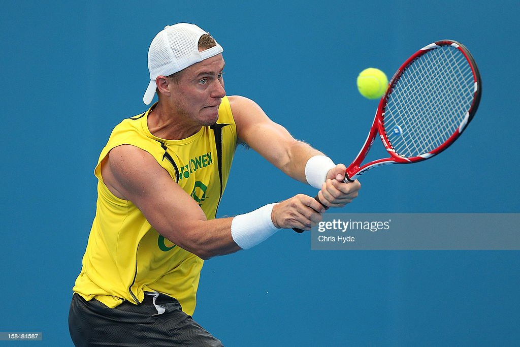 <a gi-track='captionPersonalityLinkClicked' href=/galleries/search?phrase=Lleyton+Hewitt&family=editorial&specificpeople=167178 ng-click='$event.stopPropagation()'>Lleyton Hewitt</a> practices at Pat Rafter Arena on December 18, 2012, ahead of the 2013 Brisbane International in Brisbane, Australia.