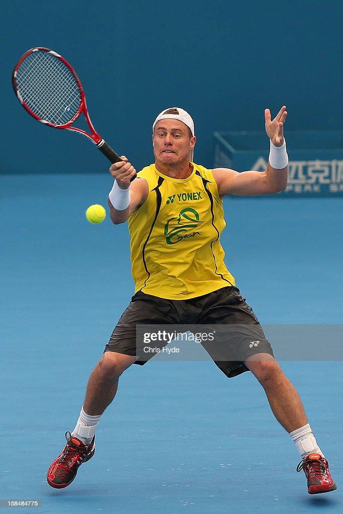 Lleyton Hewitt practices at Pat Rafter Arena on December 18, 2012, ahead of the 2013 Brisbane International in Brisbane, Australia.