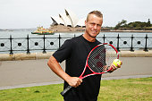 Lleyton Hewitt sposes during a Tennis Australia announcement at Hickson Road Reserve on November 25 2014 in Sydney Australia