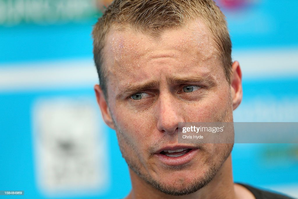 <a gi-track='captionPersonalityLinkClicked' href=/galleries/search?phrase=Lleyton+Hewitt&family=editorial&specificpeople=167178 ng-click='$event.stopPropagation()'>Lleyton Hewitt</a> talks to media after a practice session at Pat Rafter Arena on December 18, 2012, ahead of the 2013 Brisbane International in Brisbane, Australia.
