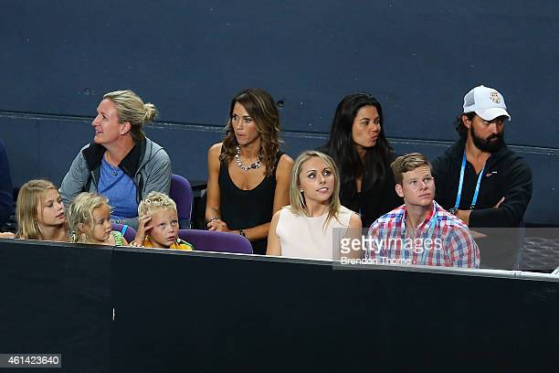 Lleyton Hewitt's children Mia Rebecca Hewitt Ava Sydney Hewitt and Cruz Lleyton Hewitt with Bec Hewitt Australian cricketer Steve Smith and his...