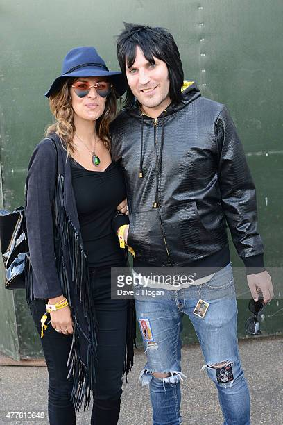Lliana Bird and Noel Fielding in the Barclay Card VIP Hospitality Suite as part of the British Summer Time 2015 gigs at Hyde Park on June 18 2015 in...