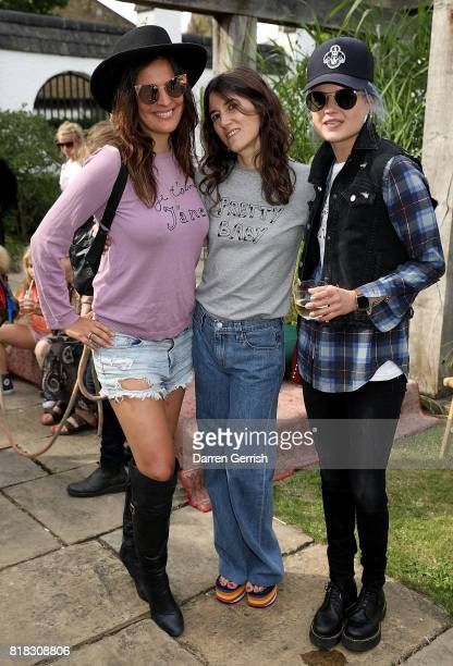 Lliana Bird Bella Freud and Alison Mosshart attend the J Brand x Bella Freud garden tea party on July 18 2017 in London England