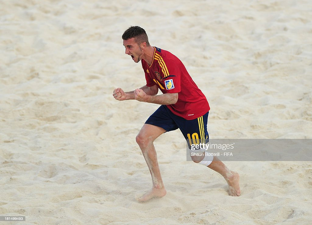 Llorenc of Spain celebrates after scoring during the FIFA Beach Soccer World Cup Tahiti 2013 Group A match between United Arab Emirates and Spain at the Tahua To'ata stadium on September 21, 2013 in Papeete, French Polynesia.