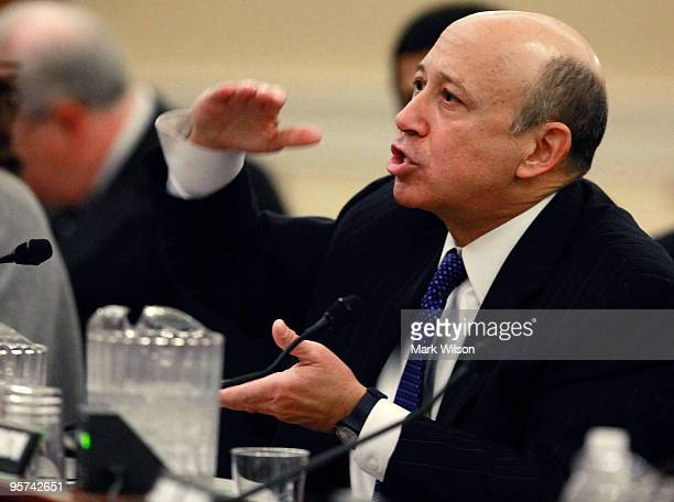 Lloyd Blankfein CEO of Goldman Sachs Group Inc participates in a Financial Crisis Inquiry Commission hearing on Capitol Hill on January 13 2010 in...