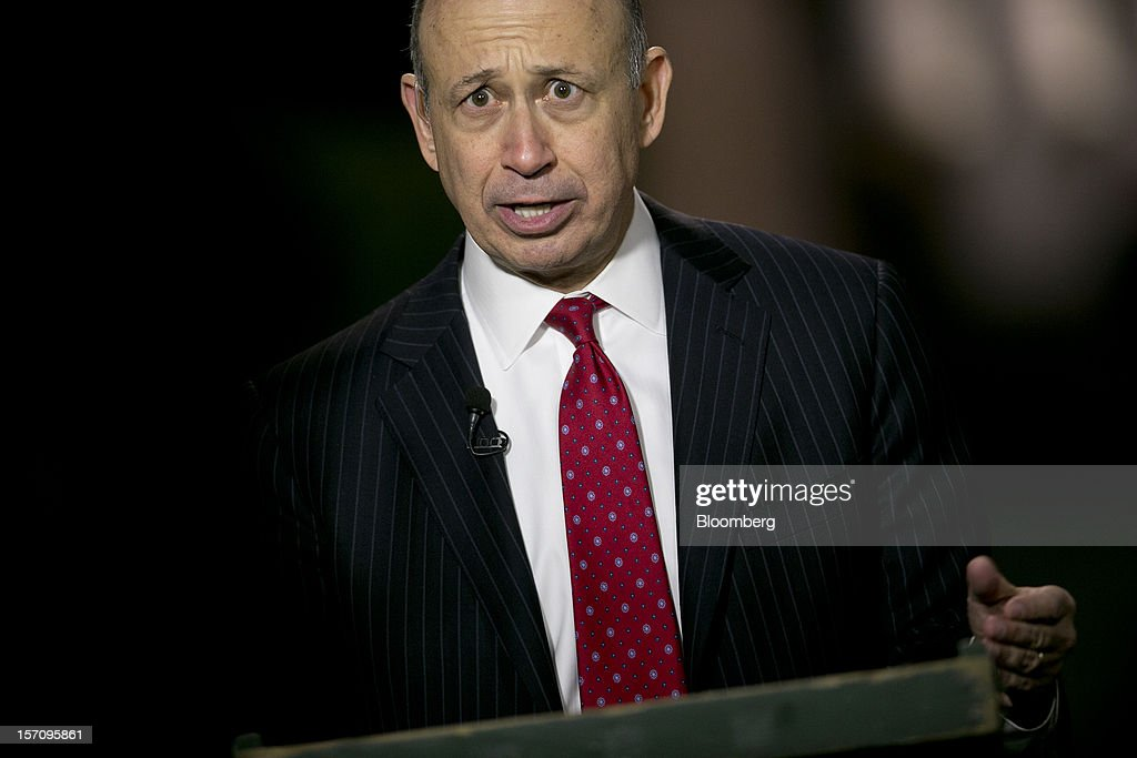 <a gi-track='captionPersonalityLinkClicked' href=/galleries/search?phrase=Lloyd+Blankfein&family=editorial&specificpeople=4085054 ng-click='$event.stopPropagation()'>Lloyd Blankfein</a>, chairman and chief executive officer of Goldman Sachs Group Inc., speaks during an interview following a meeting with U.S. President Barack Obama at the White House in Washington, D.C., U.S., on Wednesday, Nov. 28, 2012. Obama reached out to chief executives and middle-income taxpayers, imploring them to press Congress to avoid the fiscal cliff as he said he wants to get a deal 'done before Christmas.' Photographer: Andrew Harrer/Bloomberg via Getty Images