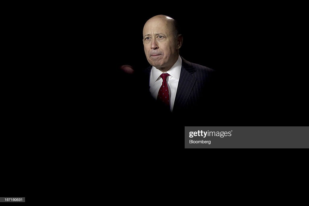 <a gi-track='captionPersonalityLinkClicked' href=/galleries/search?phrase=Lloyd+Blankfein&family=editorial&specificpeople=4085054 ng-click='$event.stopPropagation()'>Lloyd Blankfein</a>, chairman and chief executive officer of Goldman Sachs Group Inc., pauses during an interview following a meeting with U.S. President Barack Obama at the White House in Washington, D.C., U.S., on Wednesday, Nov. 28, 2012. Obama reached out to chief executives and middle-income taxpayers, imploring them to press Congress to avoid the fiscal cliff as he said he wants to get a deal 'done before Christmas.' Photographer: Andrew Harrer/Bloomberg via Getty Images