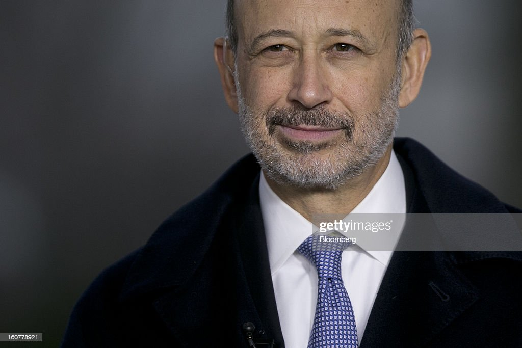 <a gi-track='captionPersonalityLinkClicked' href=/galleries/search?phrase=Lloyd+Blankfein&family=editorial&specificpeople=4085054 ng-click='$event.stopPropagation()'>Lloyd Blankfein</a>, chairman and chief executive officer of Goldman Sachs Group Inc., waits to start a television interview following a meeting with U.S. President Barack Obama at the White House in Washington, D.C., U.S., on Tuesday, Feb. 5, 2013. U.S. Obama urged Congress to postpone automatic spending cuts scheduled to begin March 1 to avoid 'real and lasting impacts' on U.S. economic growth. Photographer: Andrew Harrer/Bloomberg via Getty Images