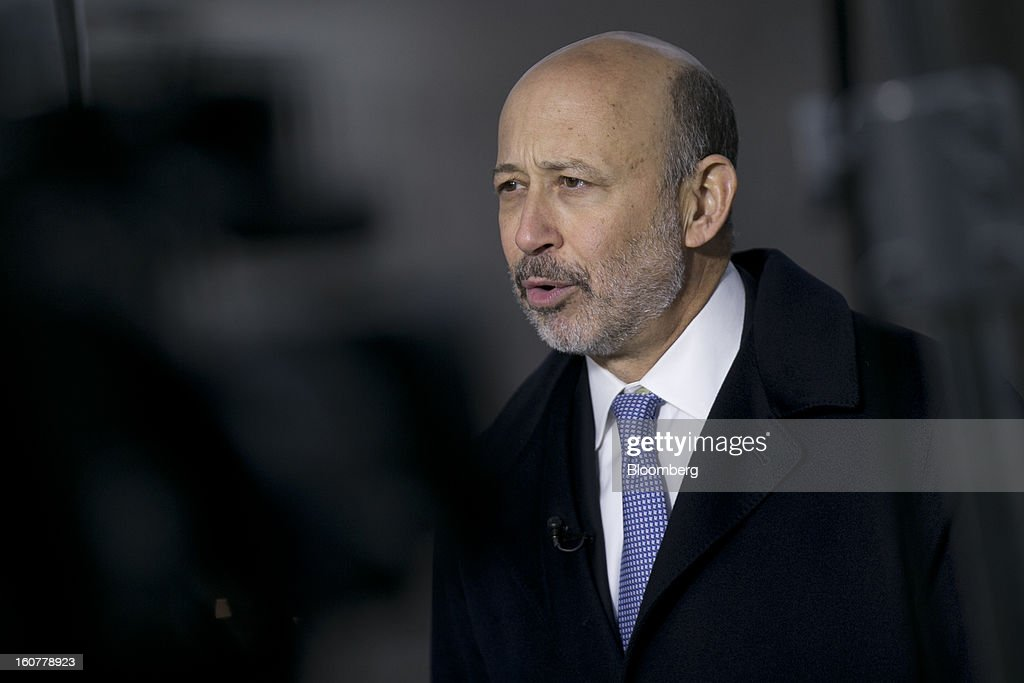 <a gi-track='captionPersonalityLinkClicked' href=/galleries/search?phrase=Lloyd+Blankfein&family=editorial&specificpeople=4085054 ng-click='$event.stopPropagation()'>Lloyd Blankfein</a>, chairman and chief executive officer of Goldman Sachs Group Inc., speaks during a television interview following a meeting with U.S. President Barack Obama at the White House in Washington, D.C., U.S., on Tuesday, Feb. 5, 2013. U.S. Obama urged Congress to postpone automatic spending cuts scheduled to begin March 1 to avoid 'real and lasting impacts' on U.S. economic growth. Photographer: Andrew Harrer/Bloomberg via Getty Images