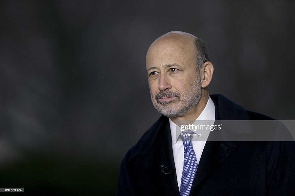 <a gi-track='captionPersonalityLinkClicked' href=/galleries/search?phrase=Lloyd+Blankfein&family=editorial&specificpeople=4085054 ng-click='$event.stopPropagation()'>Lloyd Blankfein</a>, chairman and chief executive officer of Goldman Sachs Group Inc., pauses during a television interview following a meeting with U.S. President Barack Obama at the White House in Washington, D.C., U.S., on Tuesday, Feb. 5, 2013. U.S. Obama urged Congress to postpone automatic spending cuts scheduled to begin March 1 to avoid 'real and lasting impacts' on U.S. economic growth. Photographer: Andrew Harrer/Bloomberg via Getty Images