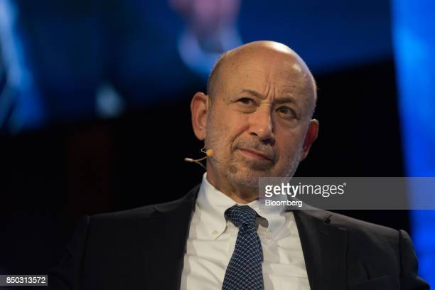 Lloyd Blankfein chairman and chief executive officer of Goldman Sachs Group Inc listens during the Bloomberg Global Business Forum in New York US on...