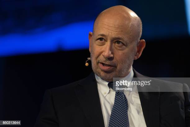 Lloyd Blankfein chairman and chief executive officer of Goldman Sachs Group Inc speaks during the Bloomberg Global Business Forum in New York US on...