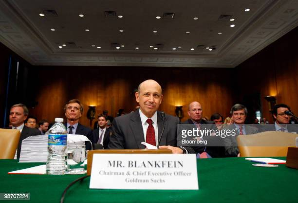 Lloyd C Blankfein chairman and chief executive officer of Goldman Sachs Group Inc waits to testify at a Senate Homeland Security and Governmental...